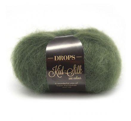 DROPS Kid-Silk Uni Colour - 19 donkergroen - Mohair Garen