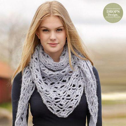 Patroon Gehaakte Omslagdoek/Sjaal Frost Flowers - Drops Design