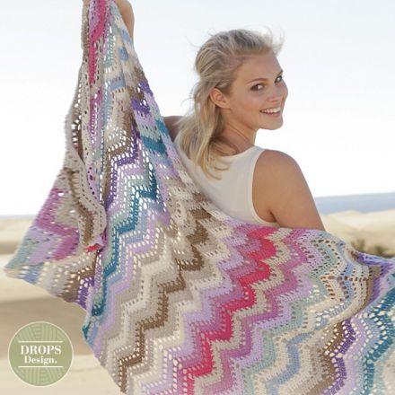 Patroon gehaakte deken met zigzagpatroon