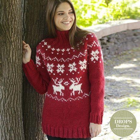 Noorse Kersttrui Dames.Breipatroon Kersttrui Merry Red Drops Design Dames Breiwebshop Nl